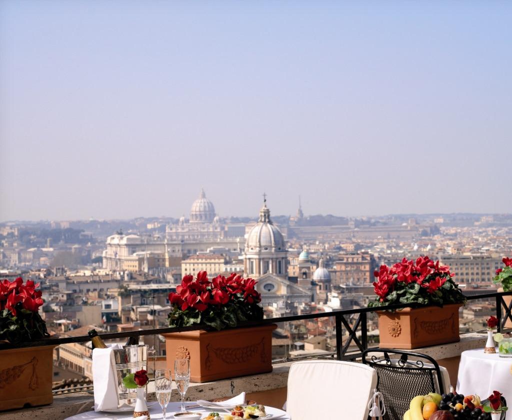 Dachterrasse im Hotel Hassler in Rom