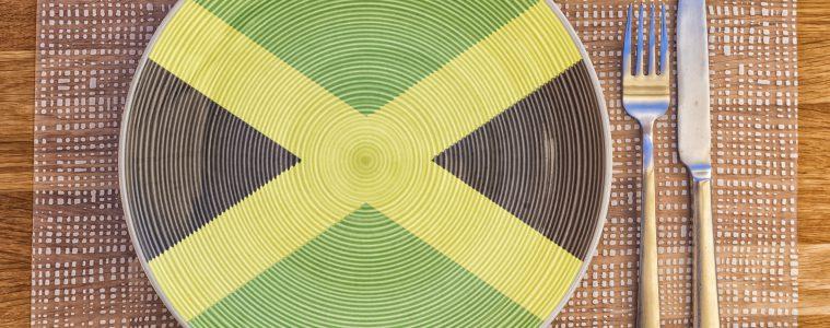 Teller mit Flaggen-Zeichen von Jamaika