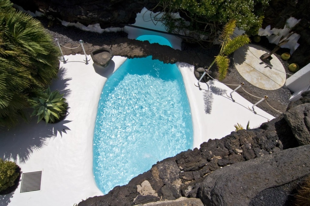 Pool in Cesar Manrique's home in Taro de Tahiche in Lanzarote