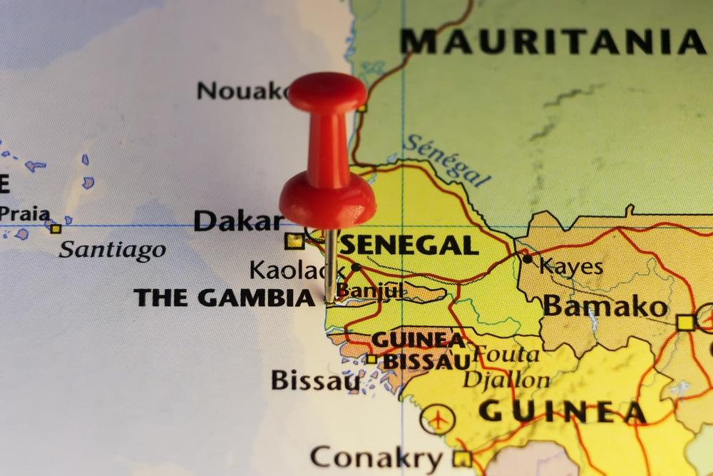 Gambia auf Landkarte