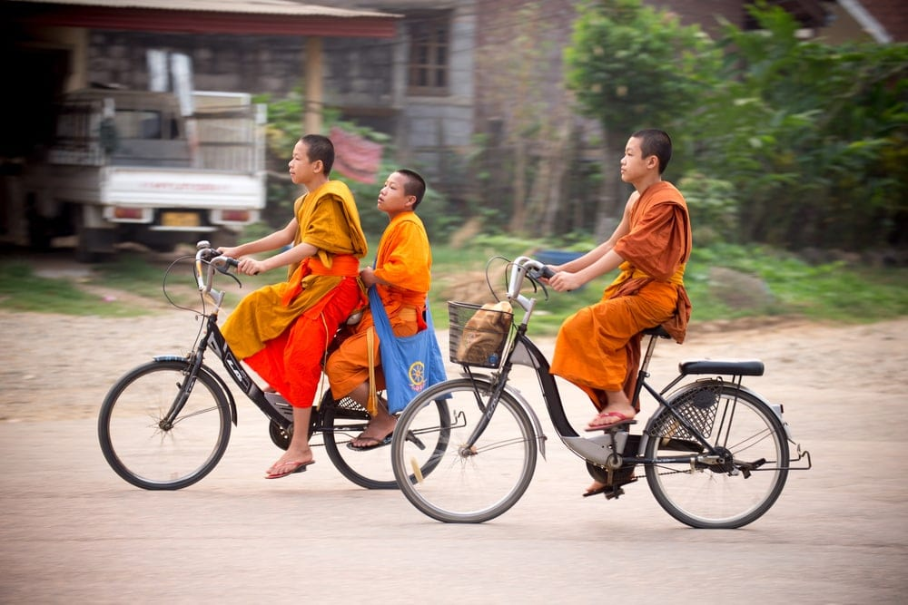 Fahrradfahrer in Laos