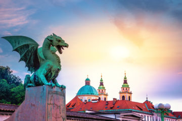 Dragon bridge (Zmajski most), symbol of Ljubljana