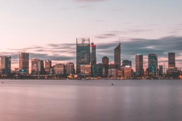 Skyline von perth, Australien bei Sonnenuntergang