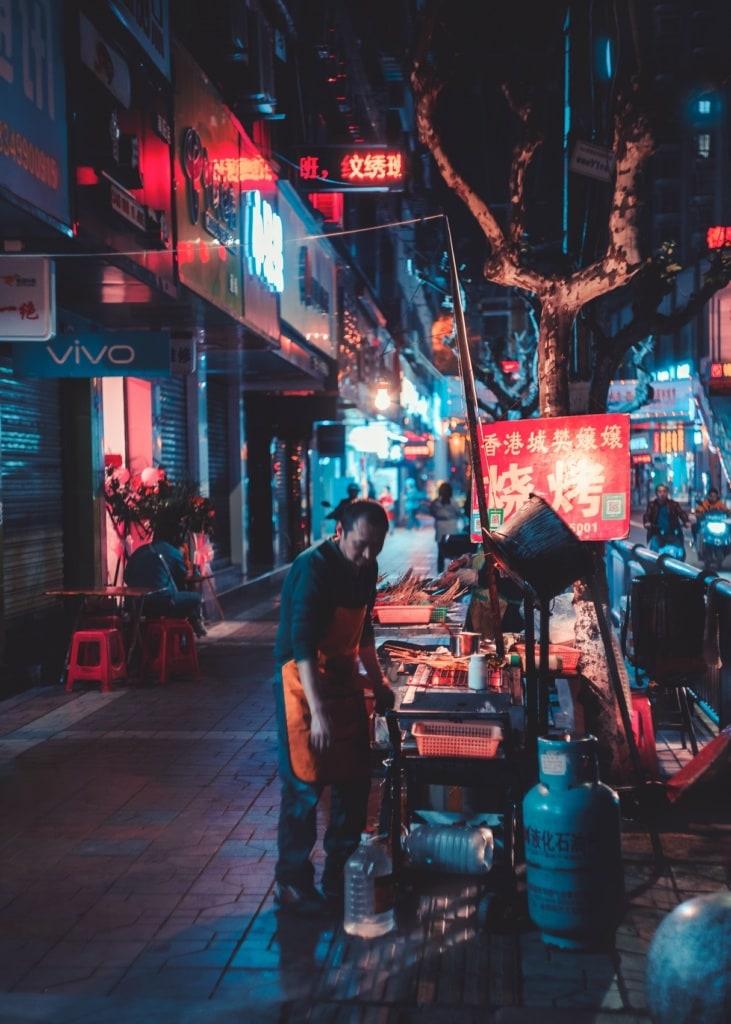 Streetfood in den Straßen Hongkong.