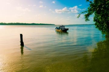 Taxi Boot auf einem Floss in Suriname