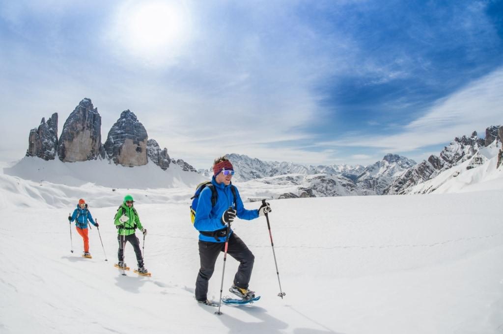 Schneeschuhwandern in den Dolomiten in Südtirol
