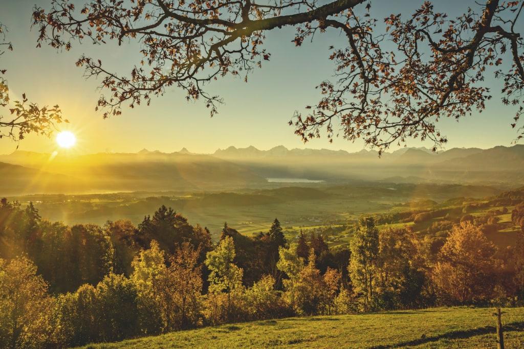 Sicht von der Buetschelegg auf die Berner Alpen und den Thunersee im Herbst
