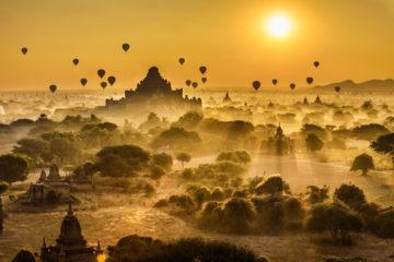Heißluftballon,Myanmar,Bagan