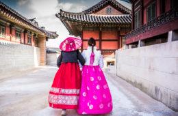 Hanbok Gyeongbokgung Palace, Seoul, Südkorea