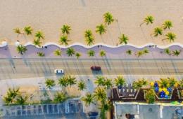 Miami, Strand und Promenade von oben fotografiert