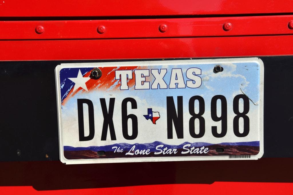 Autokennzeichen, Texas, USA