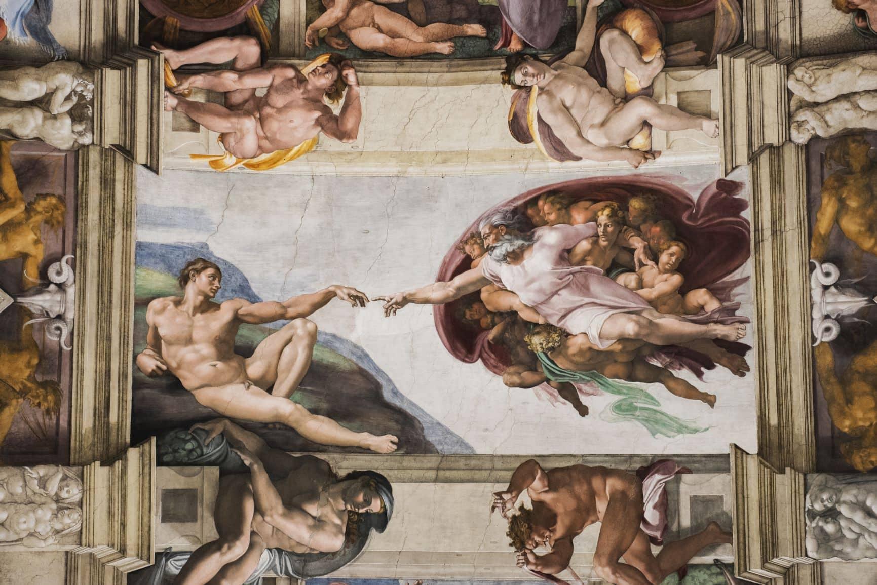 """Kunstwerk """"Die Erschaffung Adams"""" von Michelangelo"""
