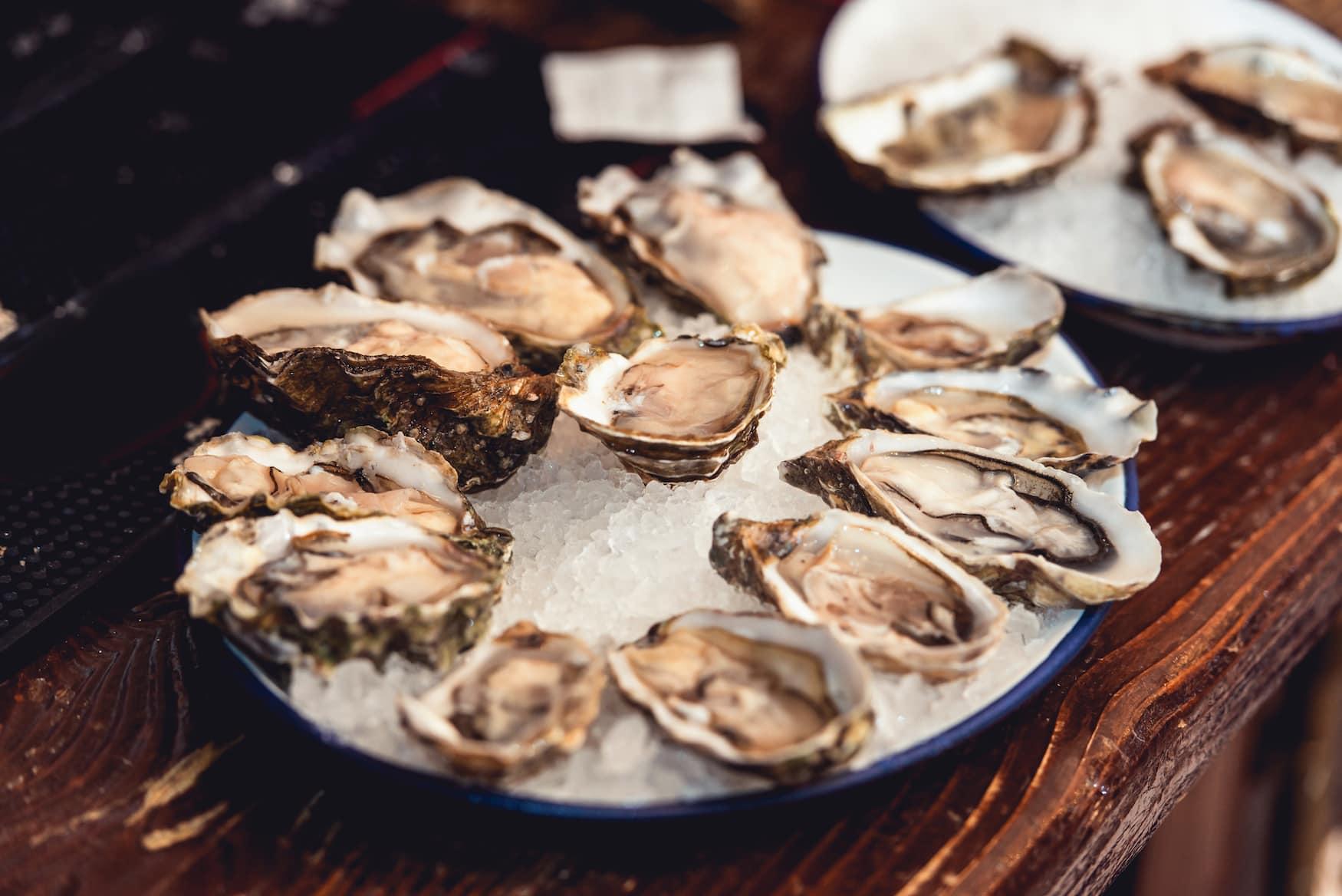 Austern aus Marennes-Oleron serviert an Buffet