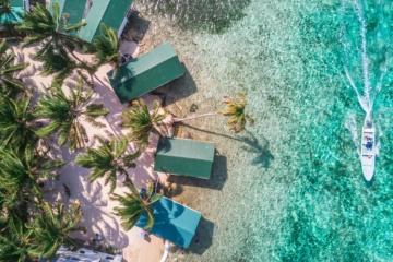 Strand in Belize aus der Vogelperspektive