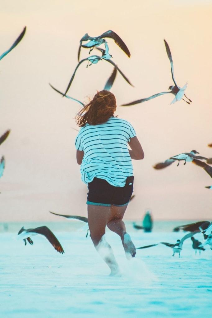 Mädchen im Meer laufend Möwen