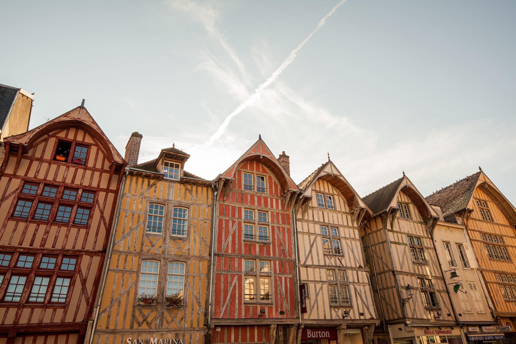 Fachwerkhäuser in Troyes, Frankreich, Aube en Champagne