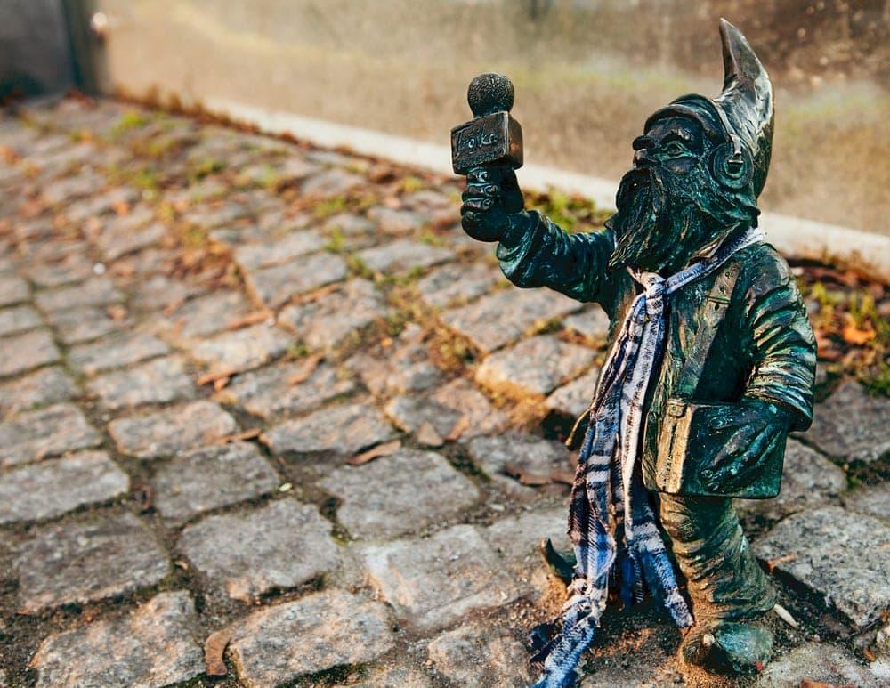 Gnome Bronze-Statue in Breslau, Polen