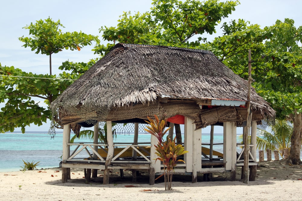 Strandhaus an paradiesischem Strand.