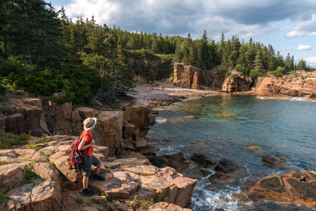 Wanderer im Acadia National Park in Maine