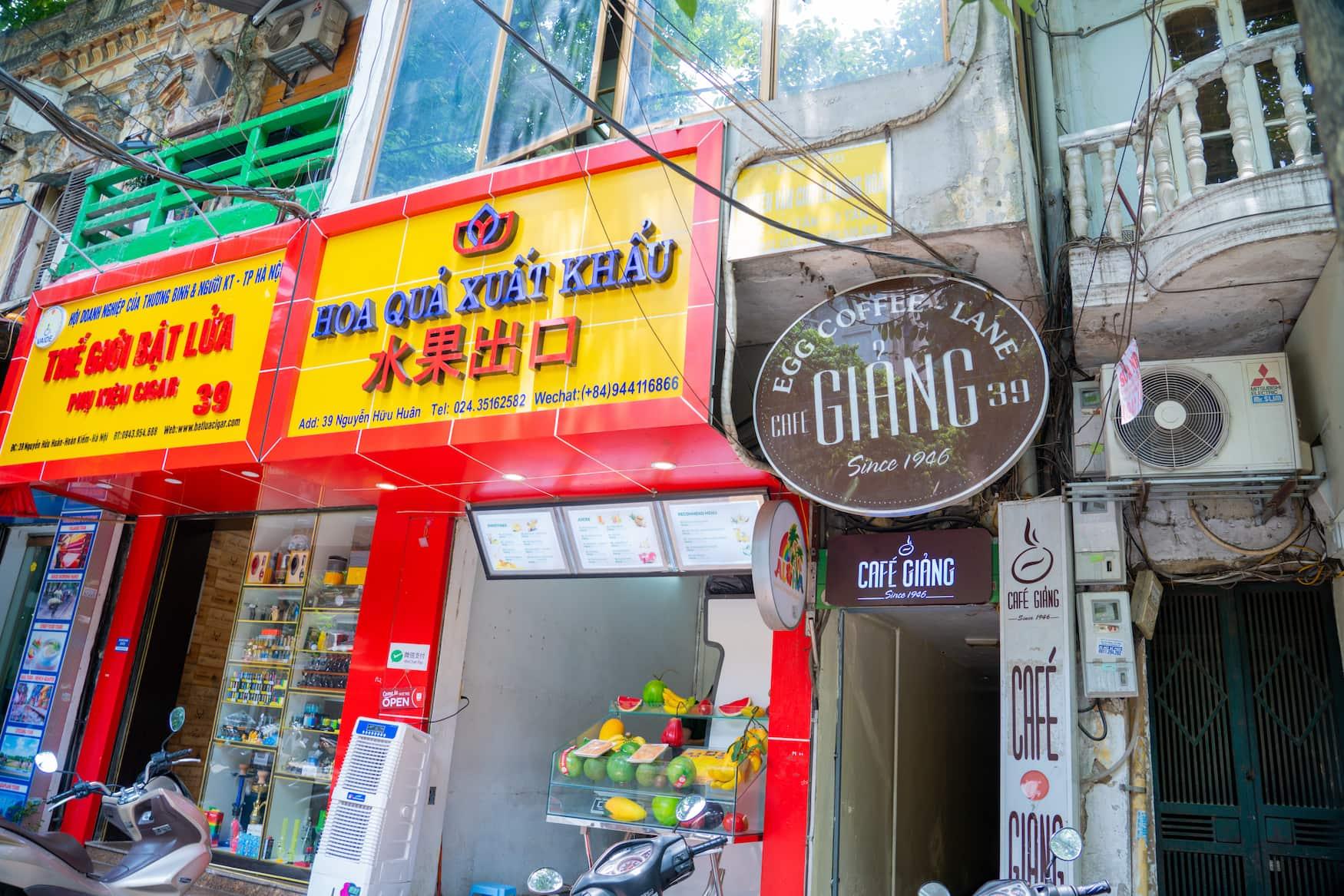 Eingang des Cafe Giang in Hanoi