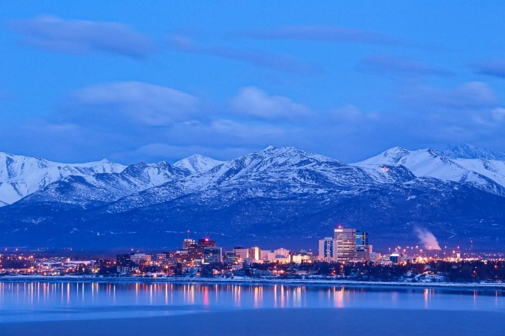 Skyline von Anchorage in Alaska