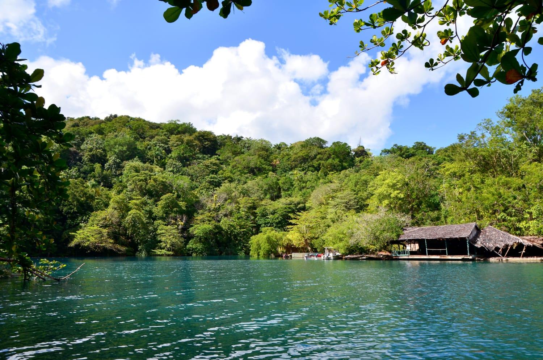 Einsames Haus an der Blauen Lagune auf Jamaika