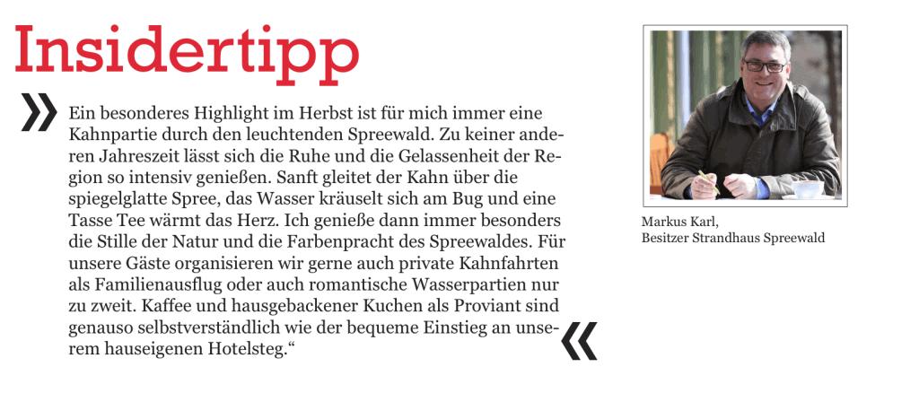 Insidertipp von Markus Karl, Inhaber von Strandhaus Spreewwald in Lübben