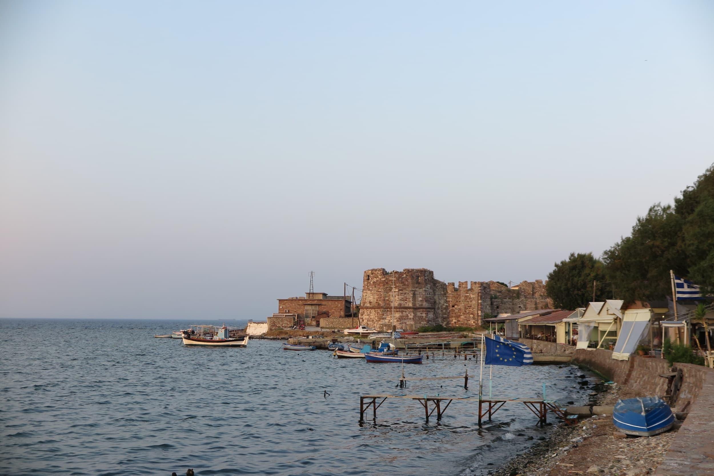 Boote im hafen von Mytilini auf Lesbos