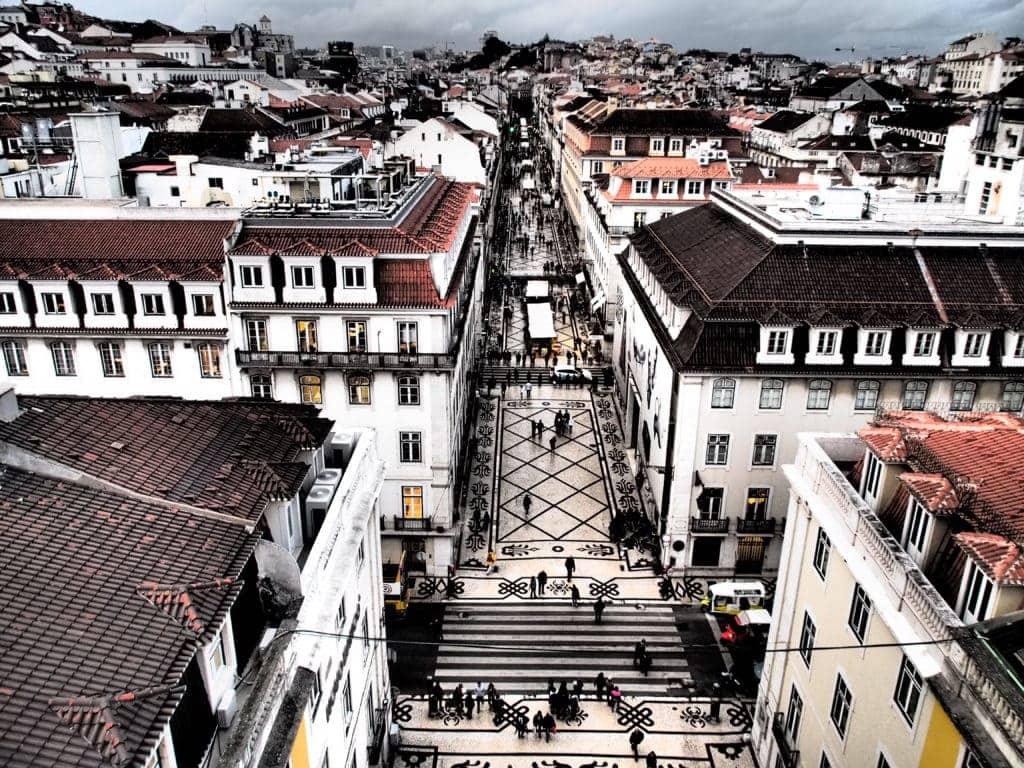 Die Einkaufsstraße Rua Augusta in Lissabon, Portugal
