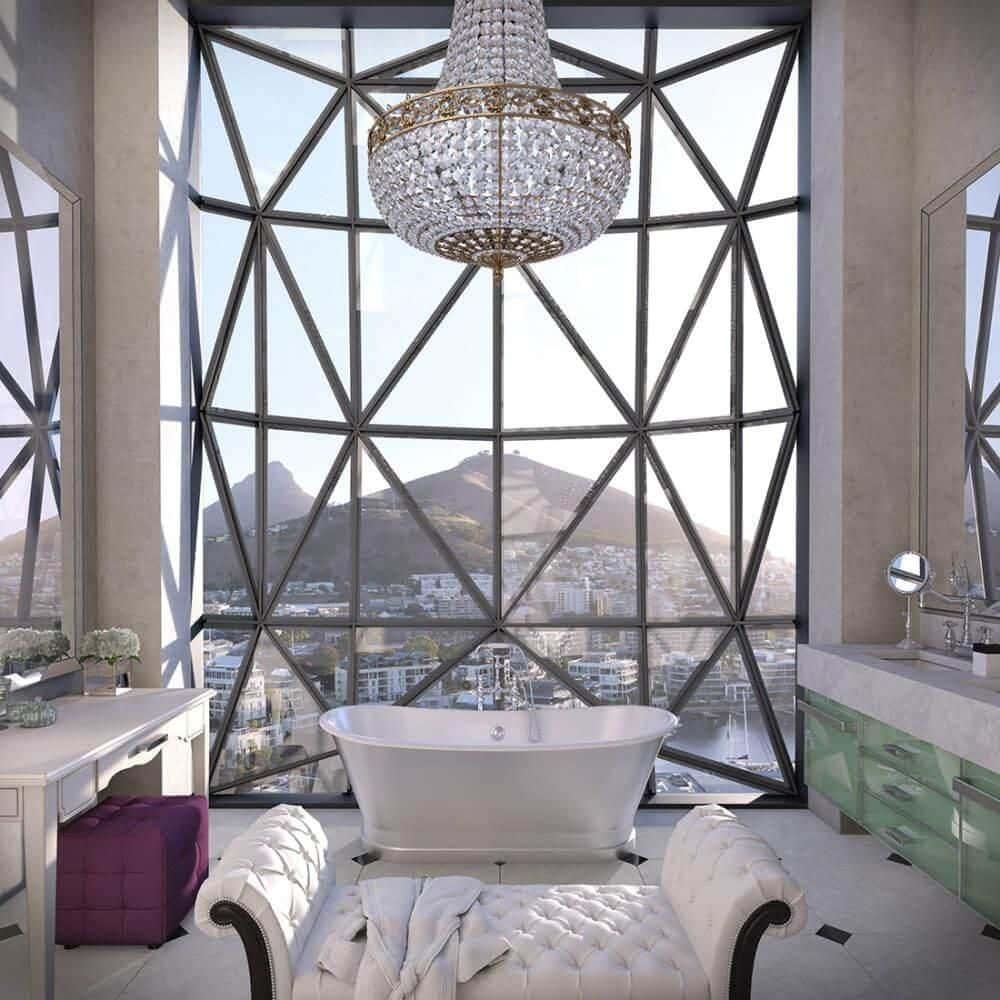 Das Badezimmer im The Silo Hotel in Kapstadt