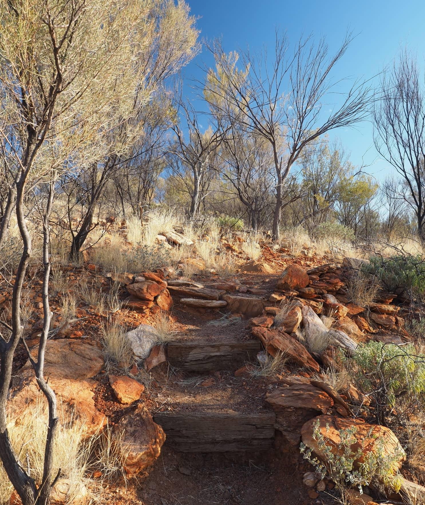Wilder Wanderweg auf rotem Fels und wüstenähnlichen Bedingungen