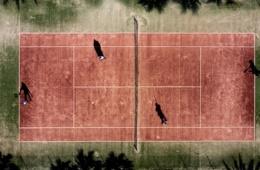 Tennisplatz im Club Aldiana Fuerteventura aus der Luft fotografiert