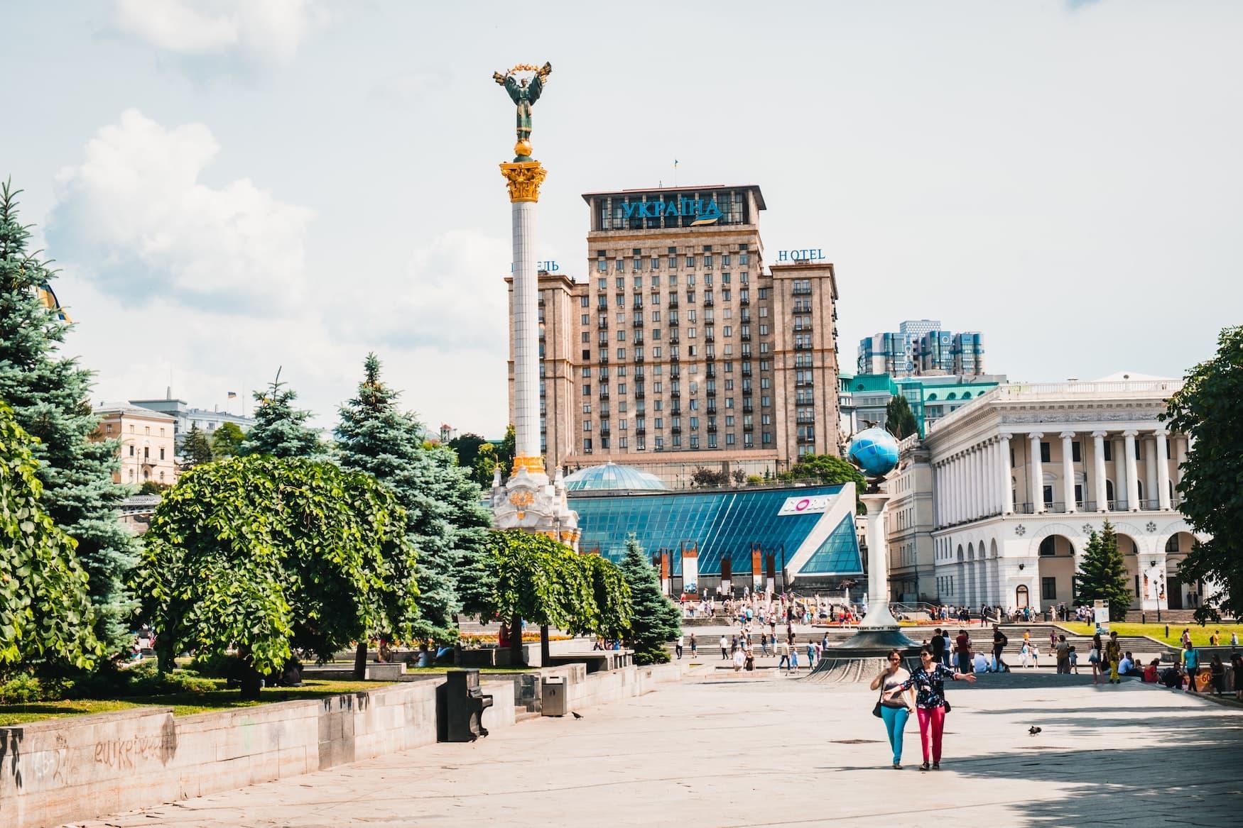Maidan Platz der Unabhängigkeit in Kiew, Ukraine