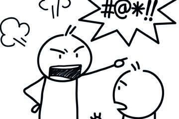 Fluchen: Comic-Zeichnung zweier Figuren