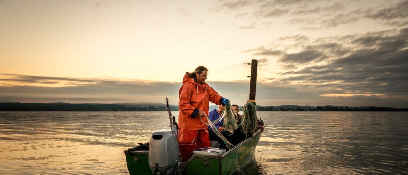 Fischer Rolf Meier auf dem Bodensee