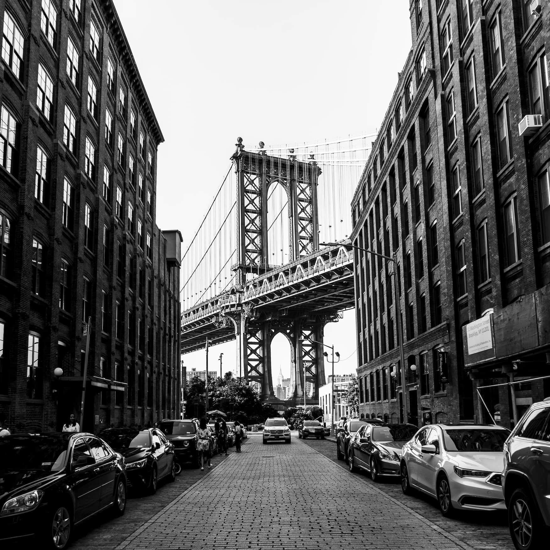 Schwarz-Weiß Foto der Brooklyn Bridge