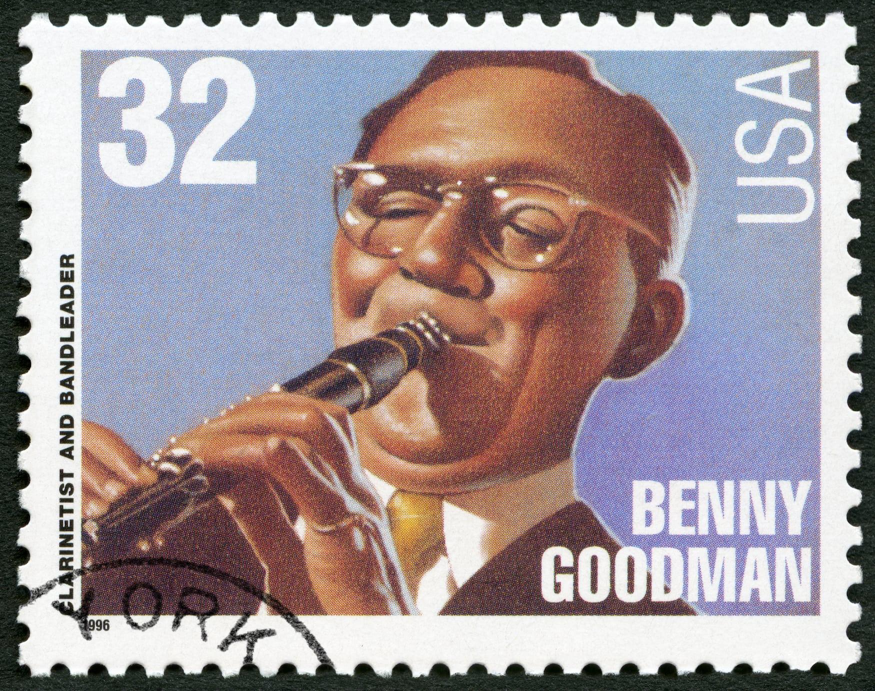 Briefmarke von Jazz-Musiker Benny Goodman aus New York