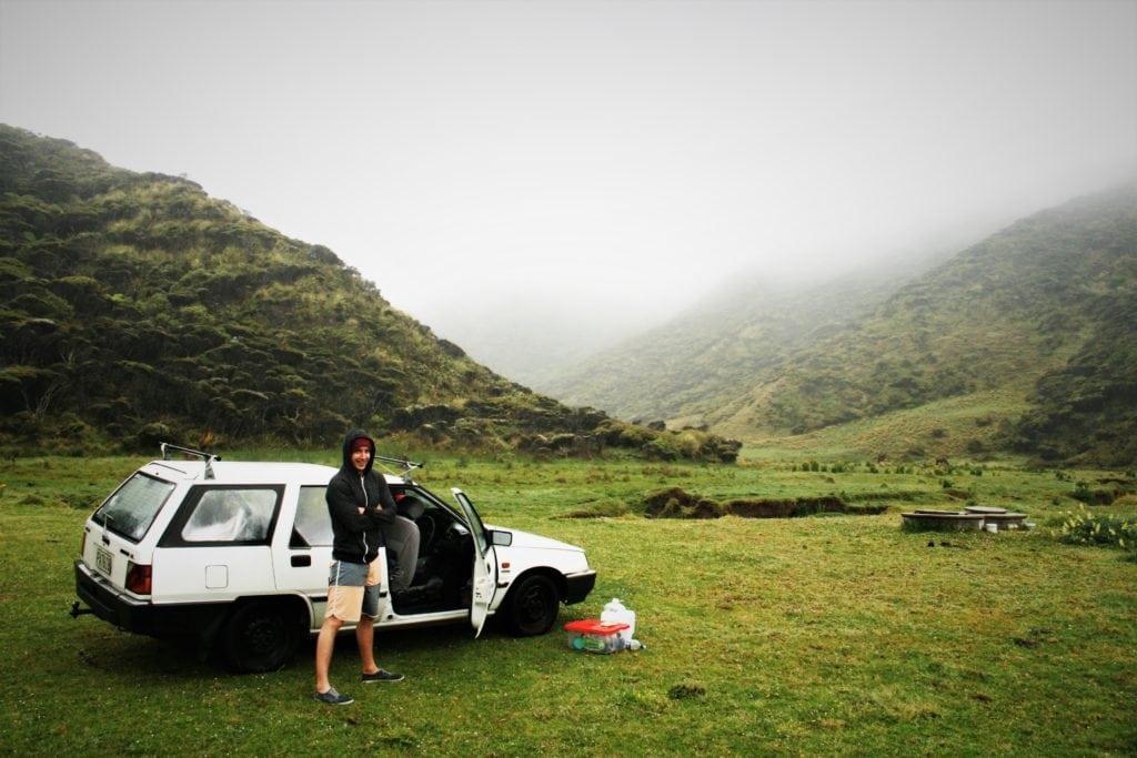 Zwei Fremdkörper in der Natur Neuseelands, beide aus demselben Jahrgang.