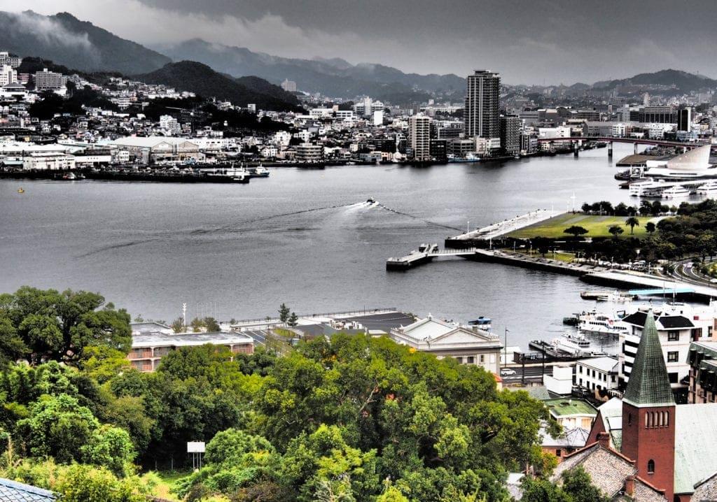 Blick auf den Hafen von Nagasaki