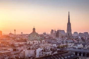 Skyline von Wien bei Sonnenuntergang