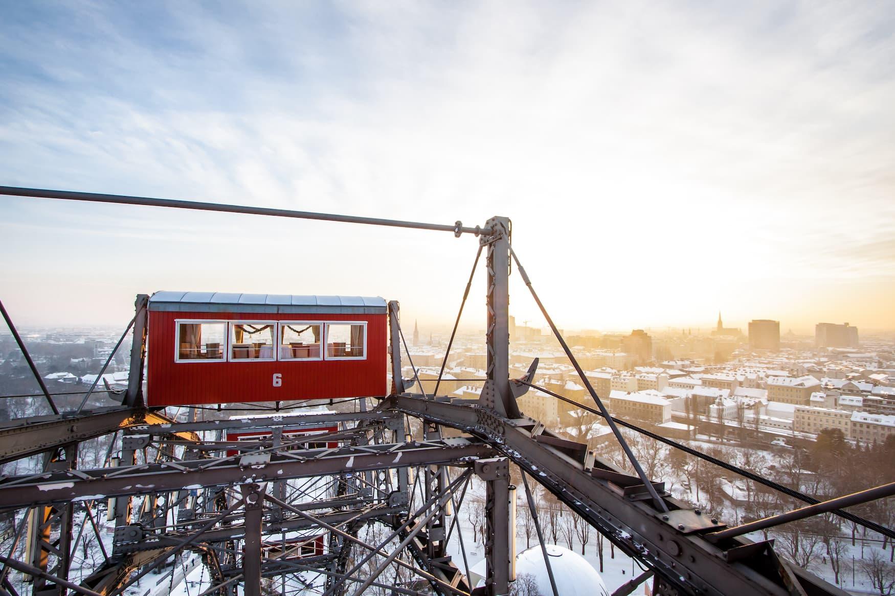 Einer der besten Aussichtspunkte in Wien ist das Riesenrad im Prater