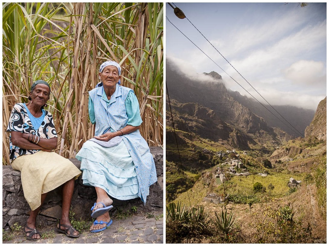 Zwei Einheimische der Kapverden sitzen in Natur