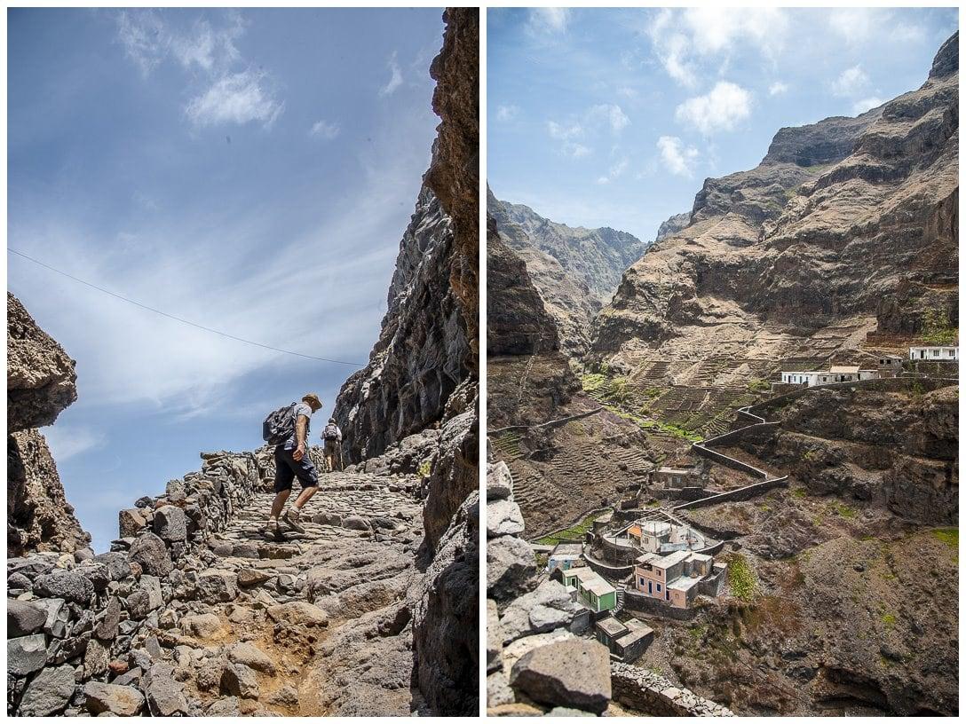 Steiler Wanderweg an der Küste der Kapverden