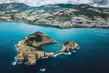 Inselarchipel der Azoren aus der Vogelperspektive