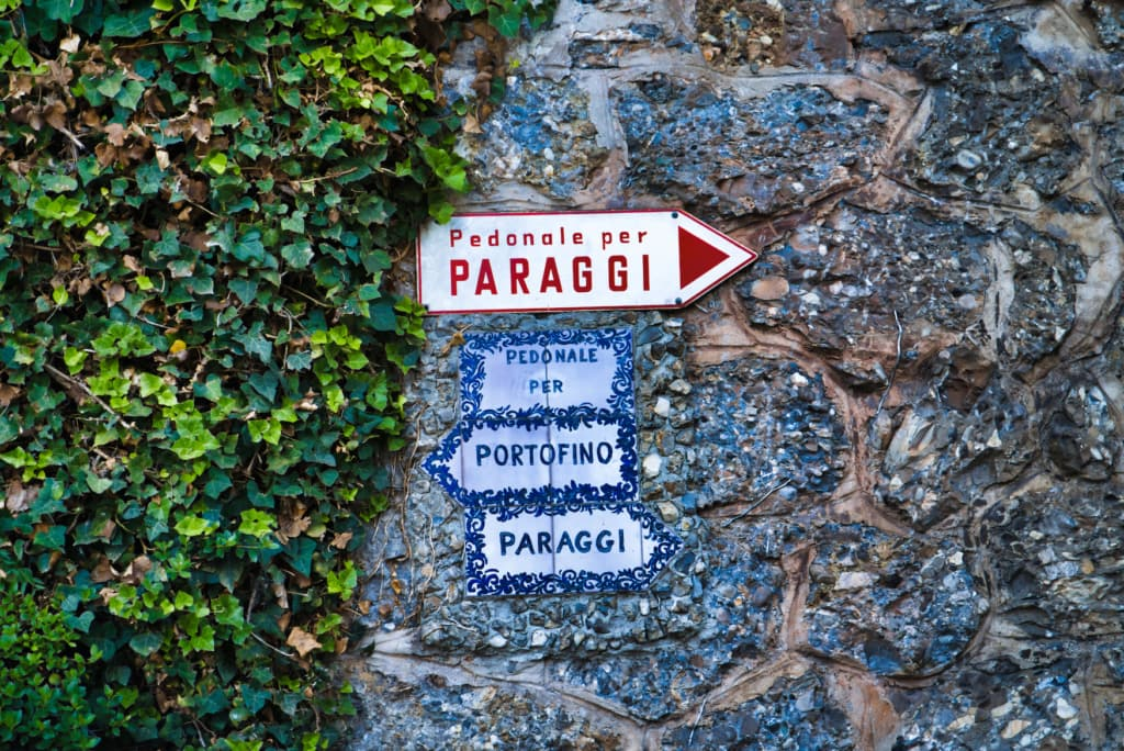 Straßenschild nach Portofino