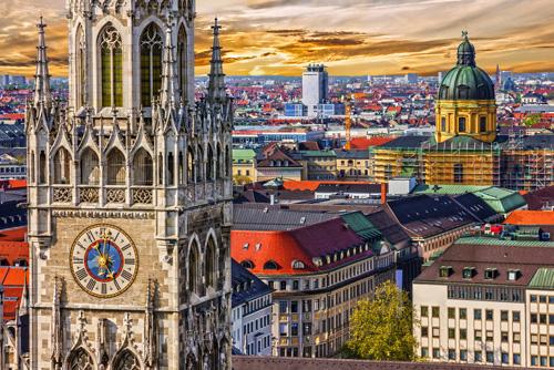 Blick auf München aus der Vogelperspektive