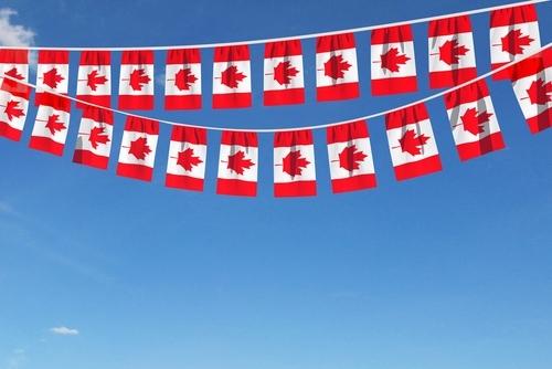 Kanada-Flaggen in zwei langen Reihen