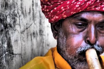Mann mit Turban spielt Flöte in Rajasthan
