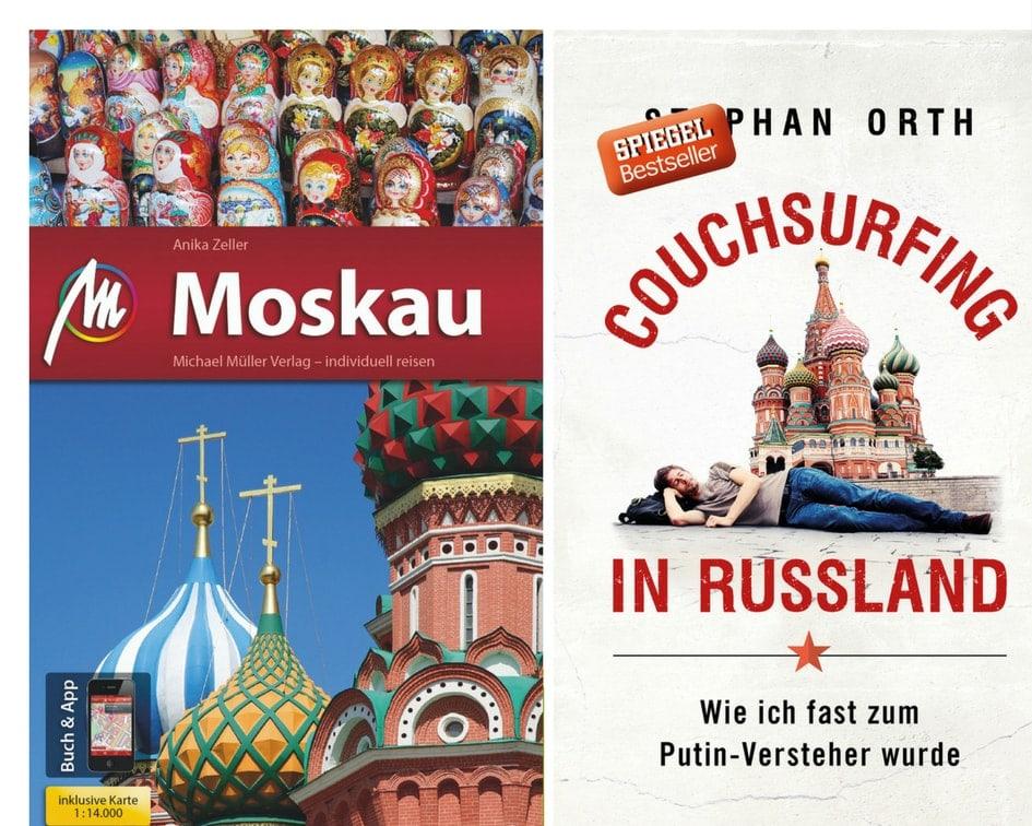 Cover des Moskau-Reiseführers aus dem Michael-Müller-Verlag und das des Buches Couchsurfing in Russland