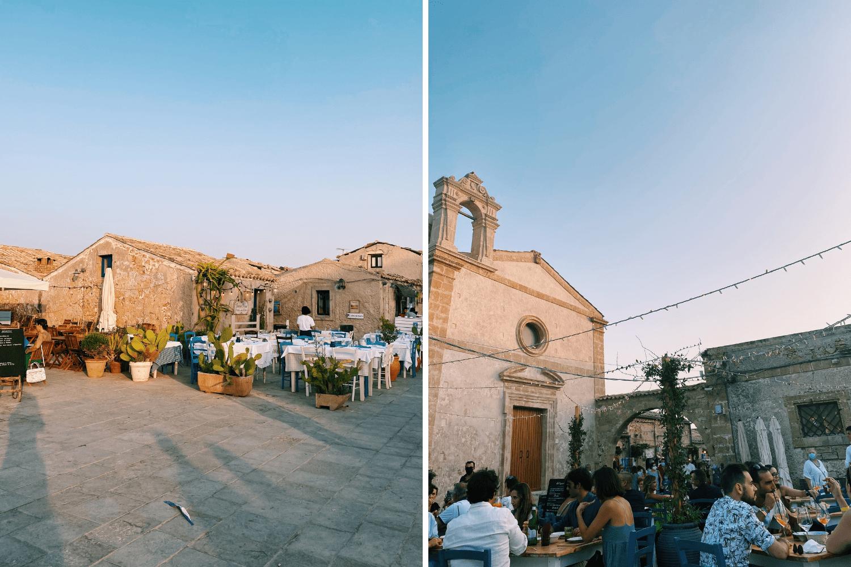 Fischerdorf Marzamemi im Süden Siziliens am Abend